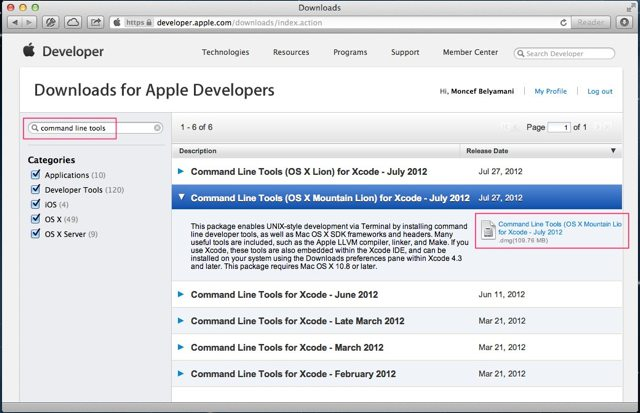 command line tools for mountain lion