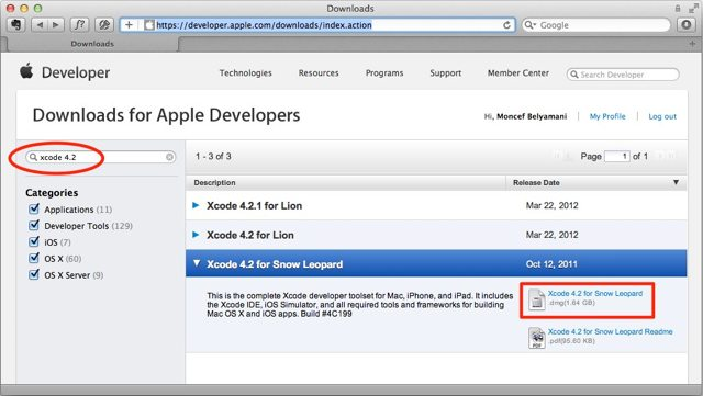 Download Xcode 4.2 for Snow Leopard