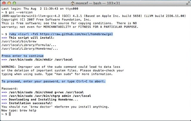 How to Install Xcode, Homebrew, Git, RVM, Ruby & Rails on Snow