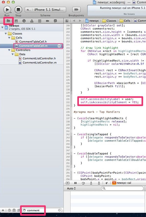adding accessibility label to CommentTableCell.m in Xcode