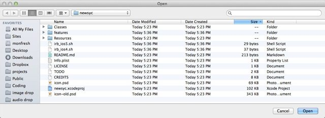 open the newsyc folder in Xcode