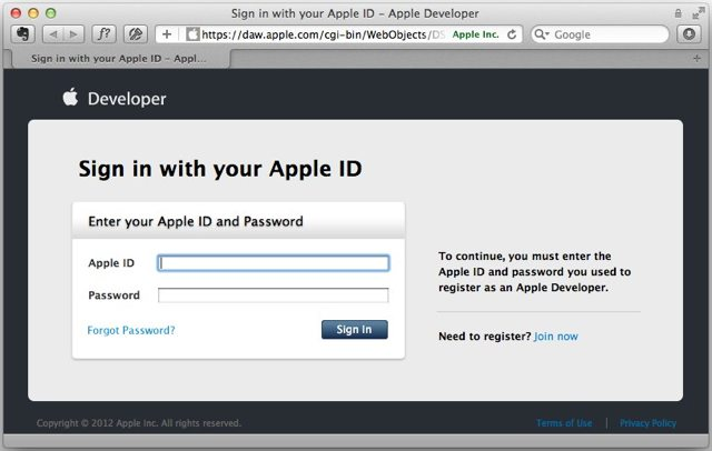 sign in to developer.apple.com