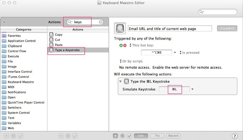 simulate keystroke action in Keyboard Maestro