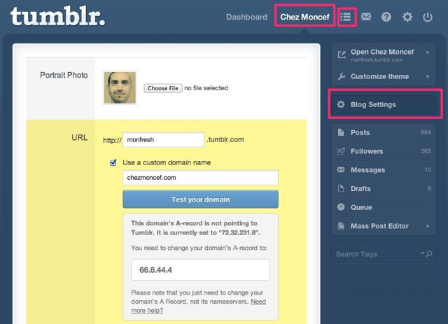 How to change your domain's A record to fix your Tumblr custom domain name